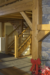 timber frame home stairs larch timbers