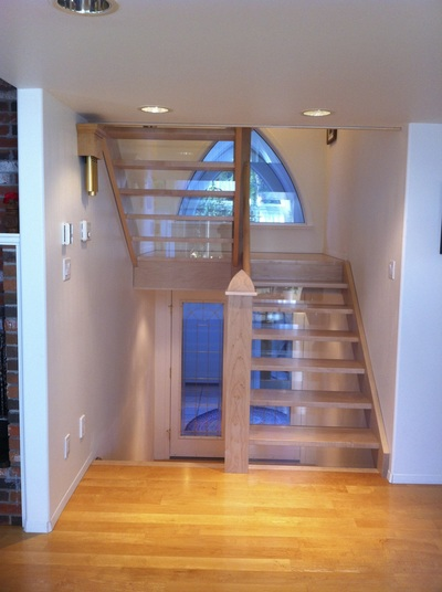 timber frame stairs maple glass risers custom