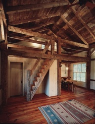 timber frame cabin recycled wood oak stairs
