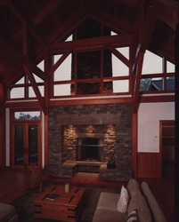 timber frame home reclaimed douglas fir timbers glass