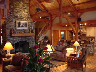 timber frame home recycled douglas fir fireplace